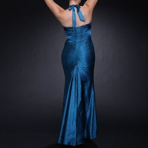 Blue Ruched Evening Gown